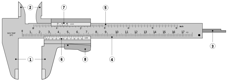 Parts of a vernier caliper